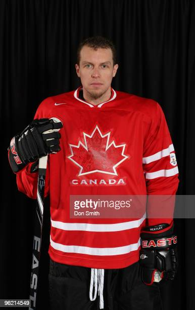 Dany Heatley of the San Jose Sharks poses for his Olympic Photo Shoot in his team Canada jersey for the 2010 Olympics