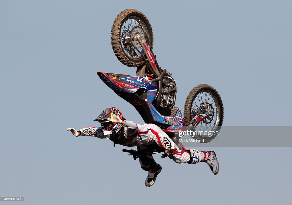 Dany Tores of Spain in action during the Red Bull XFighters World Tour at the Munich Olympic Park on July 19 2014 in Munich Germany