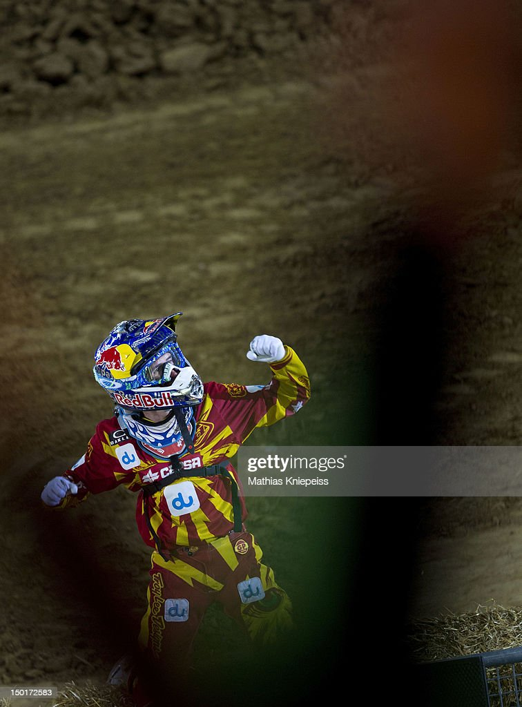 Dany Torres of Spain celebrates during the Red Bull X-Fighters World Tour at Olympia stadium on August 11, 2012 in Munich, Germany.