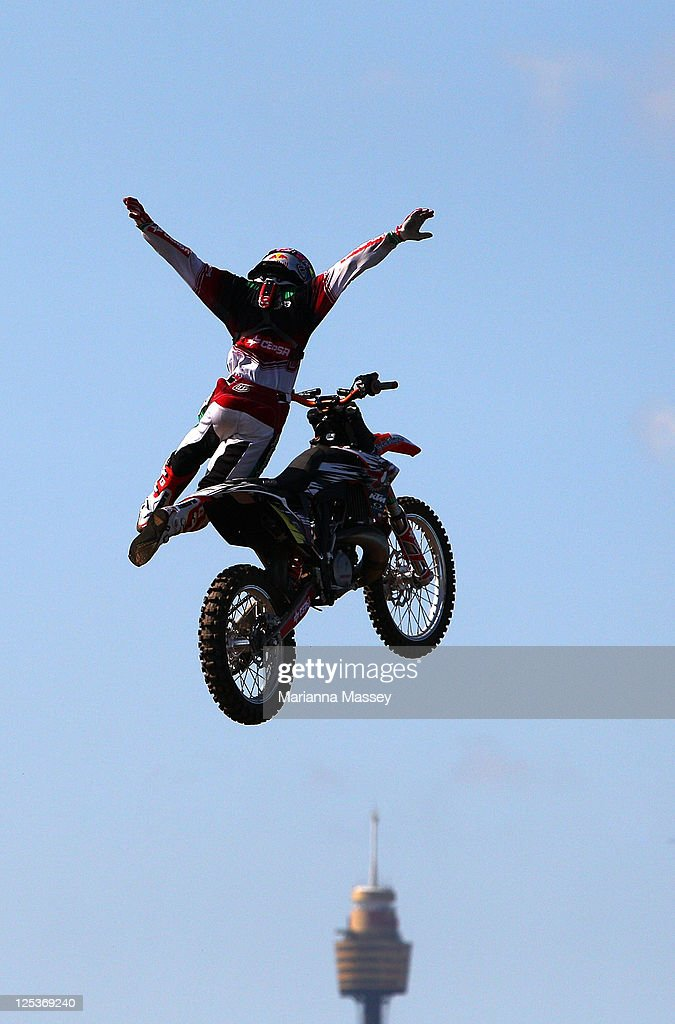 Dany Torres of Spain competes during the qualifying rounds during the Red Bull XFighters world tour on Cockatoo Island on September 17 2011 in Sydney...
