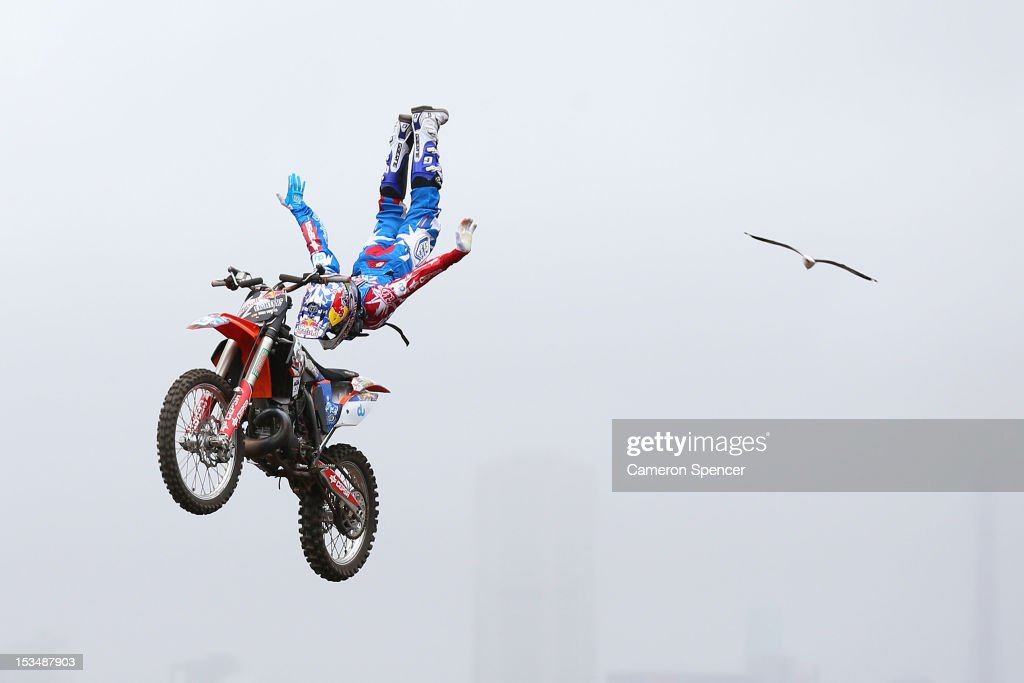 Dany Torres of Spain competes in the Red Bull X-Fighters Moto Cross at Cockatoo Island on October 6, 2012 in Sydney, Australia.
