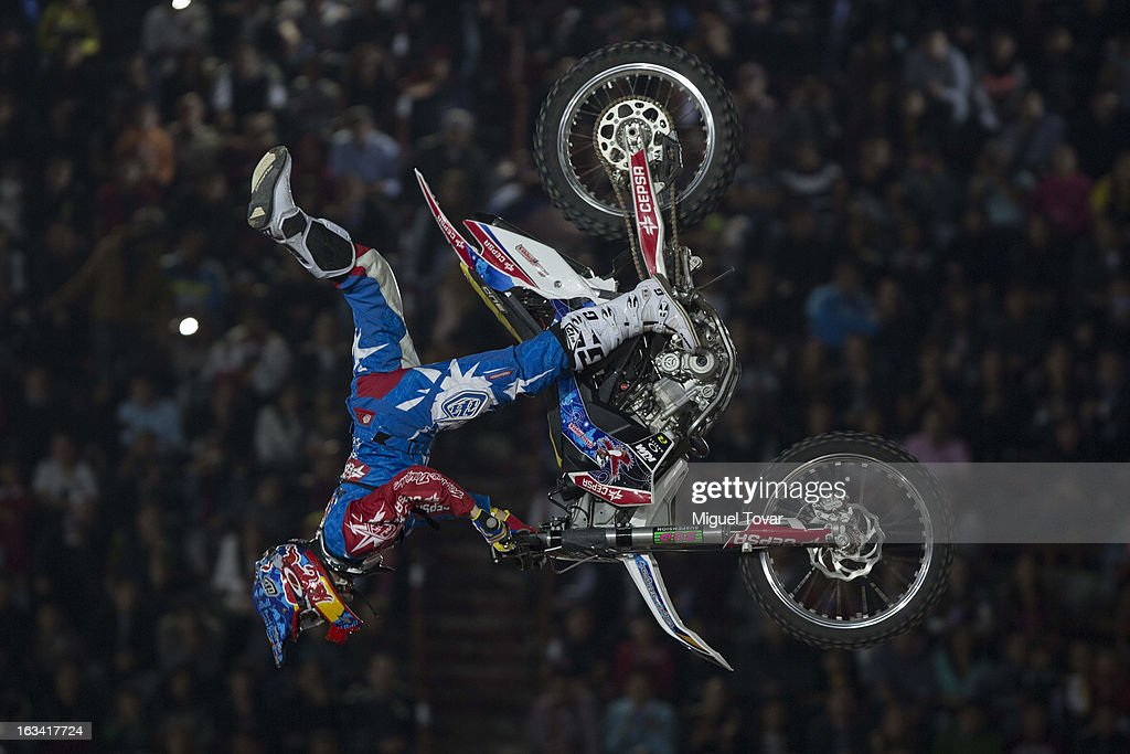 Dany Torres of Spain competes in the Red Bull X-Fighters Moto Cross at plaza de toros Mexico on March 08, 2013 in Mexico City, Mexico.