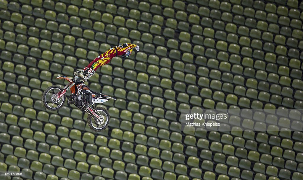 Dany Torres of Spain in action during the Red Bull X-Fighters World Tour at Olympia stadium on August 11, 2012 in Munich, Germany.
