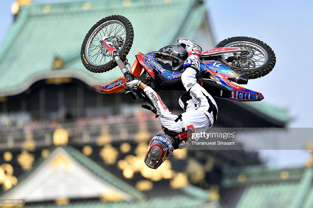 Dany Torres of Spain with KTM SX350 competes during the Red Bull XFighters World Tour on May 25 2014 in Osaka Japan
