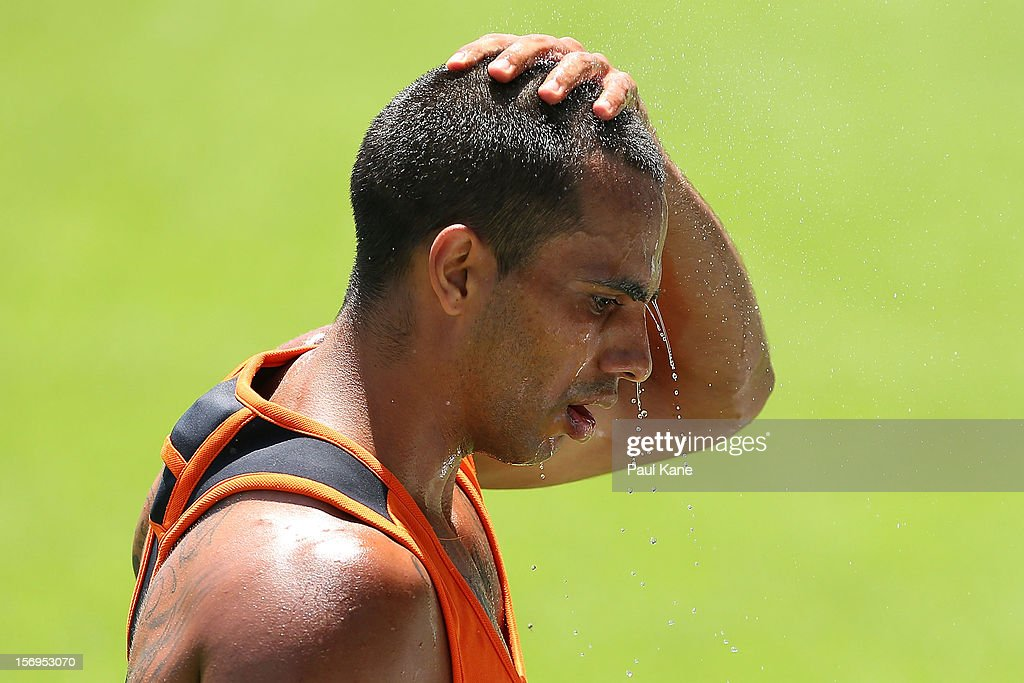 Danyle Pearce cools down after running a time trial during a Fremantle Dockers AFL pre-season training session at Fremantle Oval on November 26, 2012 in Fremantle, Australia.