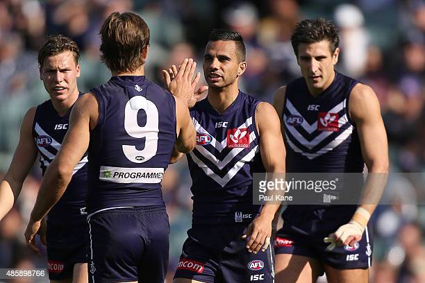 Danyle Pearce of the Dockers celebrates a goal during the round 22 AFL match between the Fremantle Dockers and the Melbourne Demons at Domain Stadium...