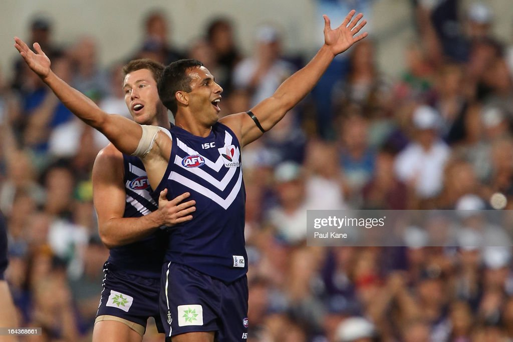 Danyle Pearce of the Dockers celebrates a goal during the round one AFL match between the Fremantle Dockers and the West Coast Eagles at Patersons Stadium on March 23, 2013 in Perth, Australia.