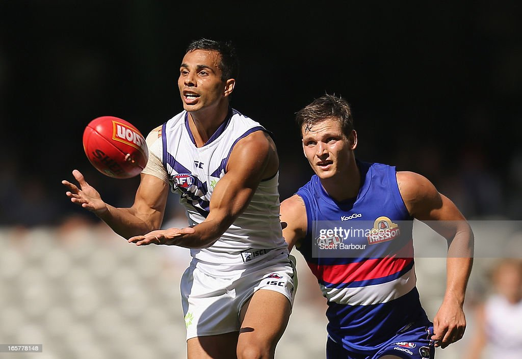 Danyle Pearce of the Dockers takes a mark during the round two AFL match between the Western Bulldogs and the Fremantle Dockers at Etihad Stadium on April 6, 2013 in Melbourne, Australia.