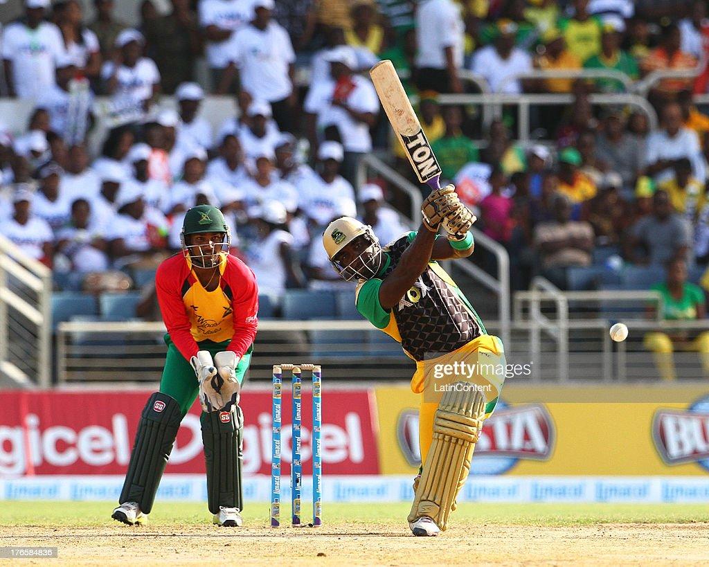 Danza Hyatt sends back a return catch during the Sixteenth Match of the Cricket Caribbean Premier League between Jamaica Tallawahs v Guyana Amazon Warriors at Sabina Park on August 15, 2013 in Kingston, Jamaica.