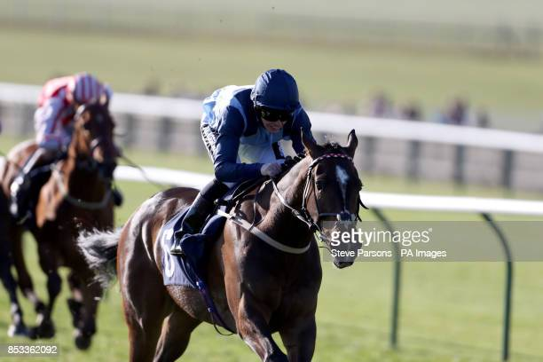 Danzeno ridden by Andrew Mullen wins the Blue Frog supplied by NP Nunn handicap stakes during day one of the 2014 Craven Meeting at Newmarket...