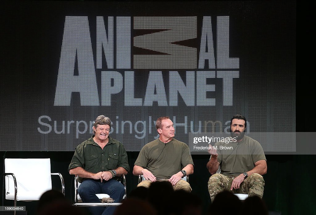 Dap Maritz, Security Manager, Game Reserves United, Craig 'Sawman' Sawyer, Team Leader,Navy SEAL Fmr, and Oz, Medic and Green Beret speak onstage at the 'Battleground: Rhino Wars' panel discussion during the Animal Planet portion of the 2013 Winter TCA Tour- Day 2 at Langham Hotel on January 5, 2013 in Pasadena, California.