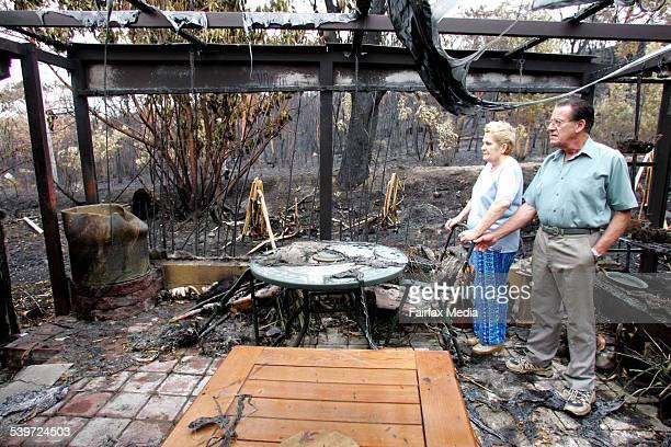 Daphne and Ray Kearns on the verandah of their Olive Ave property at the Central Coast which sustained extensive property damage during bush fires...