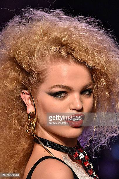 Daphne Groeneveld walks the runway during the Jean Paul Gaultier Spring Summer 2016 show as part of Paris Fashion Week on January 27 2016 in Paris...