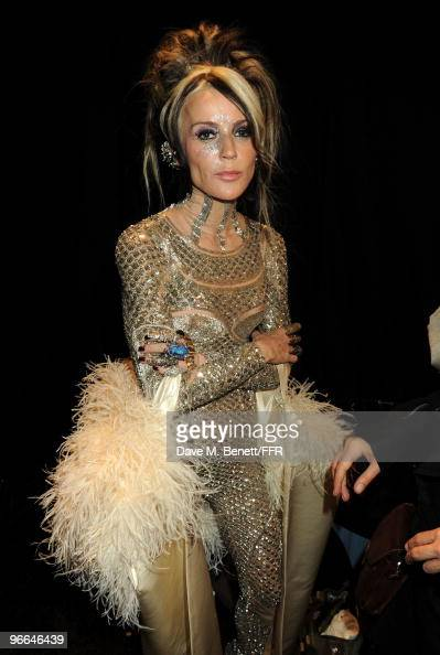Daphne Guiness poses backstage at Naomi Campbell's Fashion For Relief Haiti NYC 2010 Fashion Show during MercedesBenz Fashion Week at The Tent at...