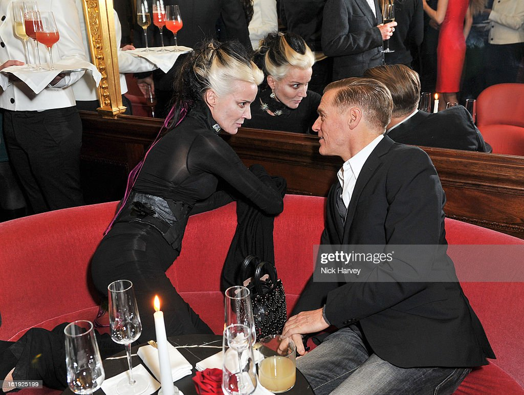 <a gi-track='captionPersonalityLinkClicked' href=/galleries/search?phrase=Daphne+Guinness&family=editorial&specificpeople=213037 ng-click='$event.stopPropagation()'>Daphne Guinness</a> and Brian Adams attend the L'Wren Scott cocktail party during London Fashion Week Fall/Winter 2013/14 at on February 17, 2013 in London, England.