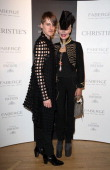 Daphne Guinness and designer Gareth Pugh attends Daphne Guinness collection private party at Christie's South Kensington on June 26 2012 in London...