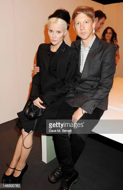 Daphne Guinness and Jefferson Hack attend a preshow drinks reception at the Graduate Fashion Week 2012 Gala Show at Earls Court 2 on June 13 2012 in...