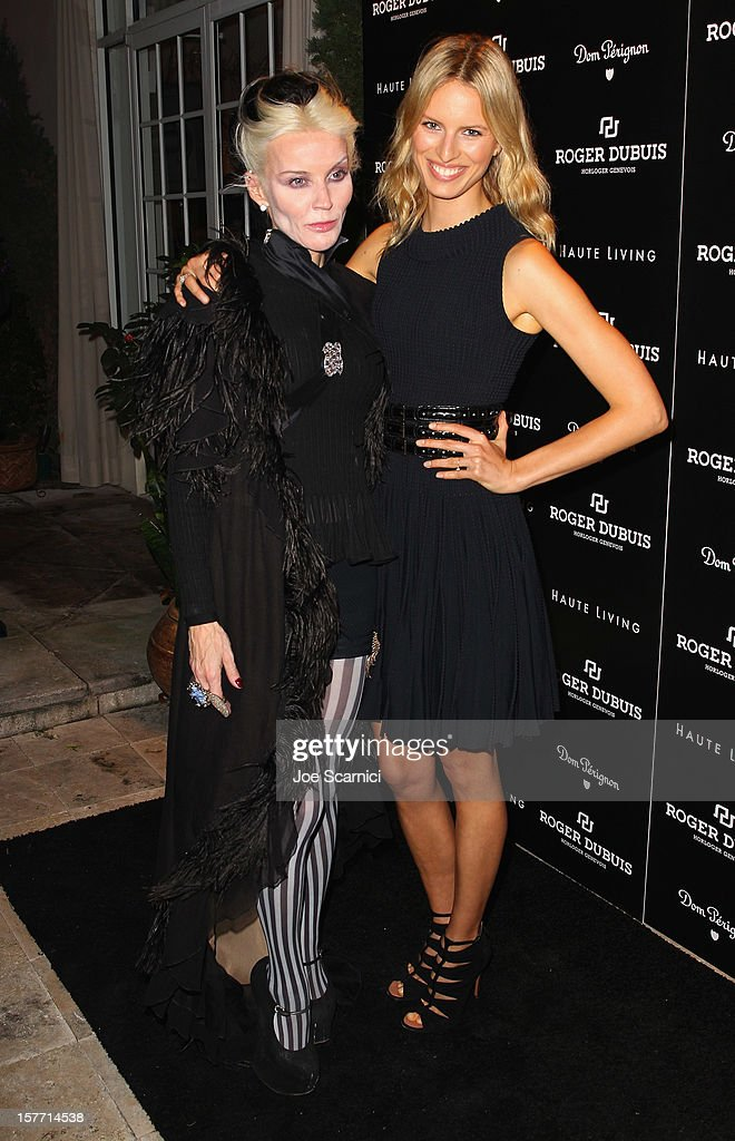 Daphne Guinness and model Karolina Kurkova attend the Haute Living and Roger Dubuis dinner hosted by Daphne Guinness at Azur on December 5, 2012 in Miami Beach, Florida.