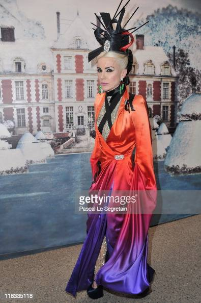 Daphne Guinness attends 'The White Fairy Tale Love Ball' in Support Of 'The Naked Heart Foundation' at Chateau De Wideville on July 6 2011 in...