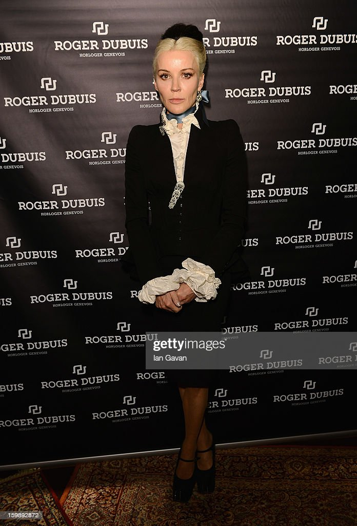 Daphne Guinness, friend of the Roger Dubuis brand visits the Roger Dubuis booth during the 23rd Salon International de la Haute Horlogerie at the Geneva Palexpo on January 22, 2013 in Geneva, Switzerland.