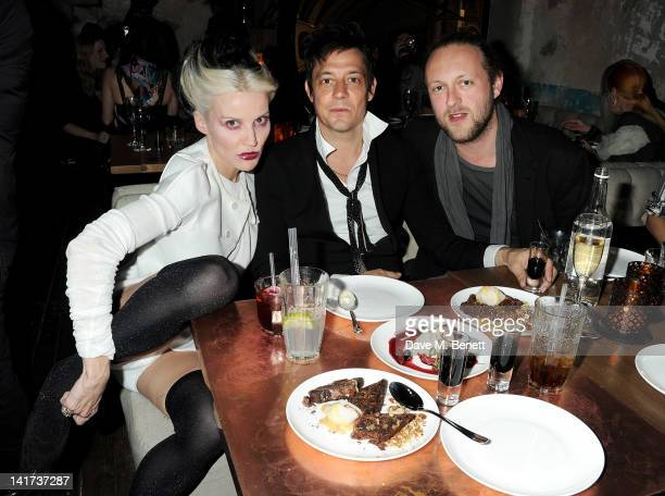 Daphne Guinness Jamie Hince and Edward Spencer Churchill attend a private dinner celebrating the Spring/Summer issue of Another Man magazine and the...