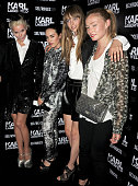 Daphne Guinness Tallulah Harlech Edie Campbell and Clara Paget attend a private cocktail party celebrating the launch of Karl Lagerfeld's collections...