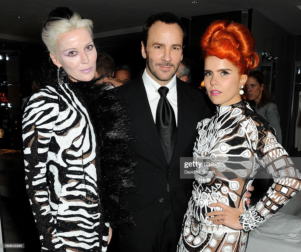 Daphne Guinness, Tom Ford and Paloma Faith attend the launch of the new Tom Ford London flagship store on Sloane Street on September 15, 2013 in London, England.