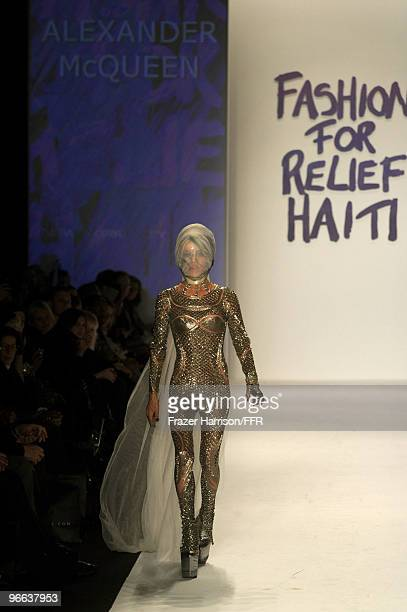 Daphne Guinness walks the runway at Naomi Campbell's Fashion For Relief Haiti NYC 2010 Fashion Show during MercedesBenz Fashion Week at The Tent at...