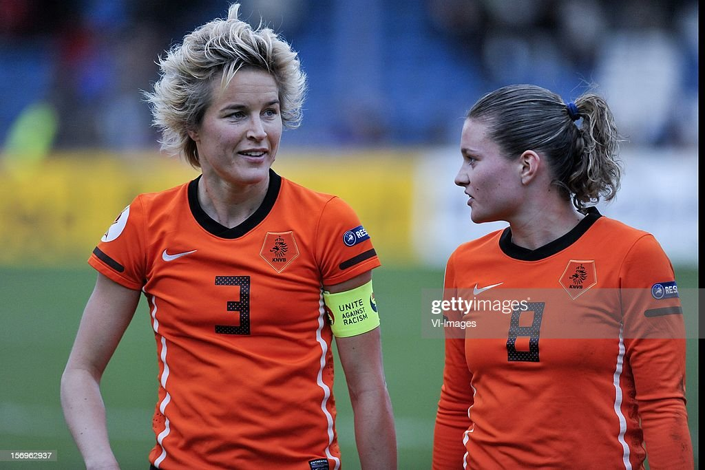 Daphne Koster of Holland, Sherida Spitse of Holland during the Women's international friendly match between Netherlands and Wales, at Tata steel stadium on November 25, 2012 in Velzen-Zuid, Netherlands.