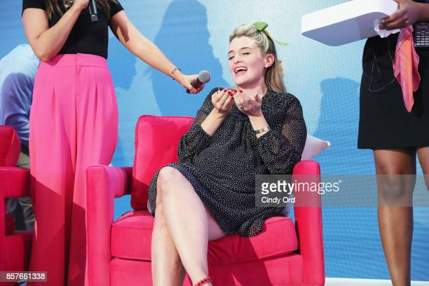 Daphne Oz speaks onstage as Brit Co Kicks Off Experiential PopUp #CreateGood with Allison Williams and Daphne Oz at Brit Co on October 4 2017 in New...