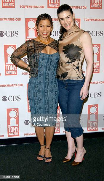 Daphne RubinVega and Idina Menzel during 2004 Tony Nominees Press Reception at Millennium Broadway Hotel in New York City New York United States