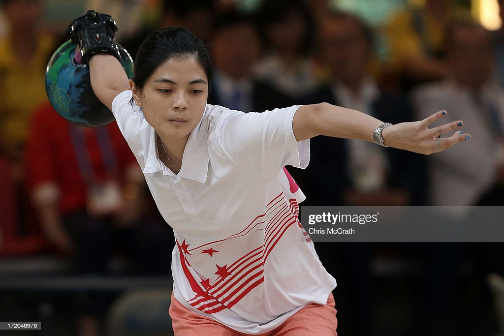 Daphne Tan of Singapore bowls against Chen Dongdong of China during the Bowling, Women's Singles Gold Medal Match at Anyang Hogye Gymnasium on day three of the 4th Asian Indoor & Martial Arts Games on July 1, 2013 in Incheon, South Korea.