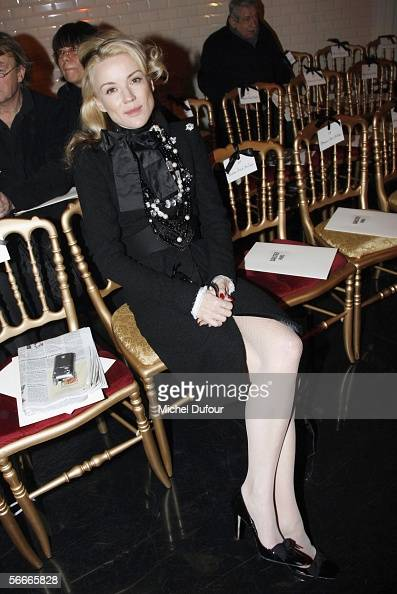 Daphnee Guiness is seen in the front row before the Jean Paul Gaultier fashion show as part of Paris Fashion Week Spring/Summer 2006 on January 25...
