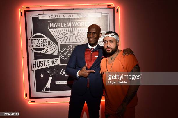 Dapper Dan and Bodega Bamz attend Experience Harlem hosted by Airbnb and Ghetto Gastro on March 14 2017 in New York City