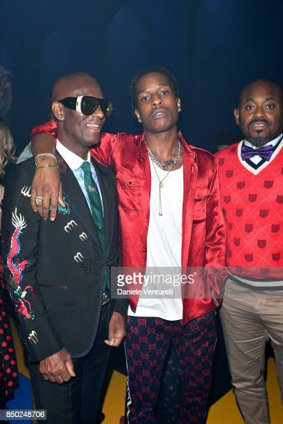 Dapper Dan Asap Rocky and Steve Stoute attend the Gucci show during Milan Fashion Week Spring/Summer 2018 on September 20 2017 in Milan Italy