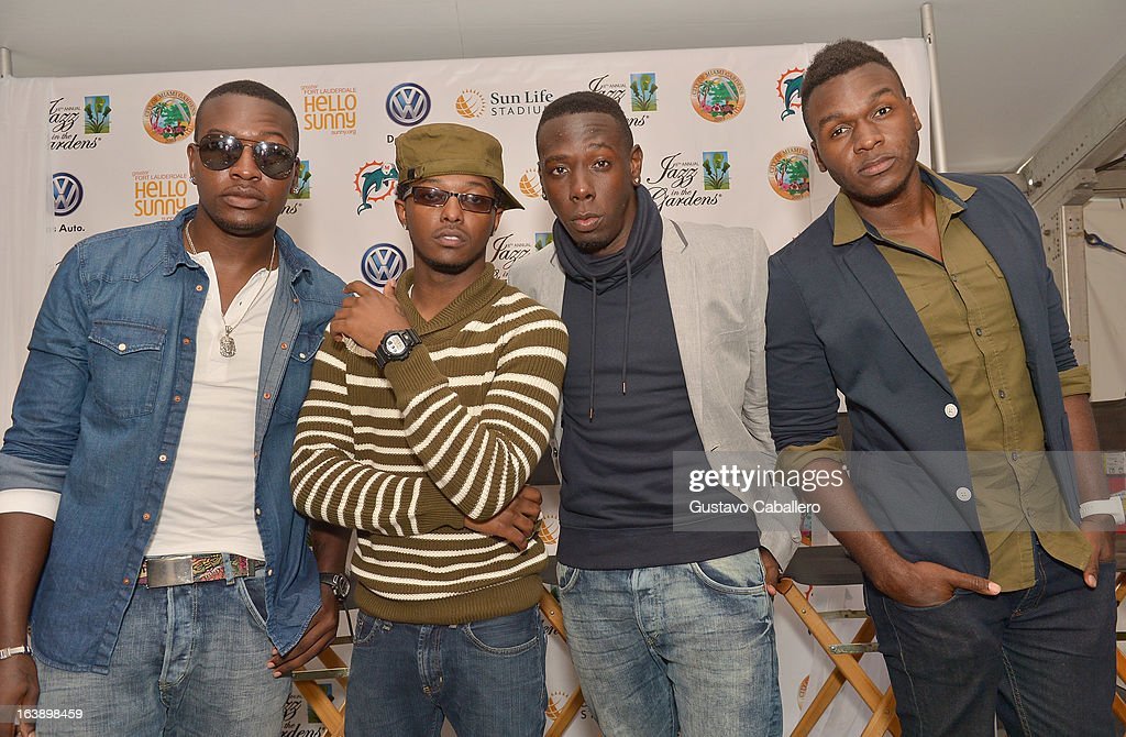DaPrince Taylor, Adon Jackson, A.J. Frazier and Antwan Lenard of Unselfish attend the 8th Annual Jazz in the Gardens Day 2 at Sun Life Stadium presented by the City of Miami Gardens on March 17, 2013 in Miami Gardens, Florida.