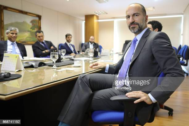 Dara Khosrowshahi chief executive officer of Uber Technologies Inc sits during a meeting with Henrique Meirelles Brazil's minister of finance not...