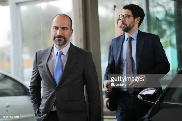 Dara Khosrowshahi chief executive officer of Uber Technologies Inc left exits the Finance Ministry building following a meeting with Henrique...