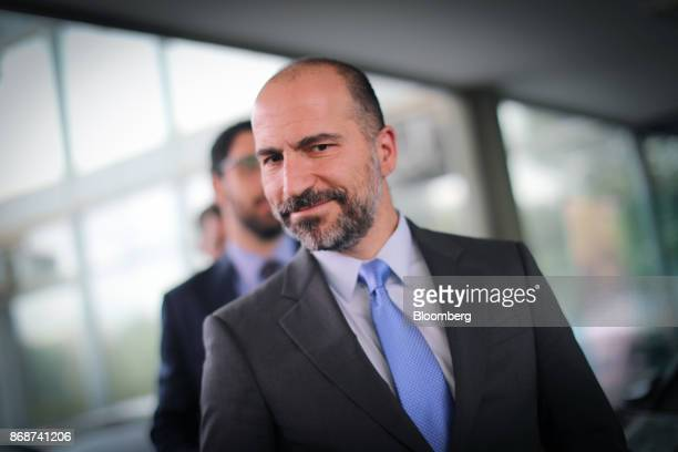 Dara Khosrowshahi chief executive officer of Uber Technologies Inc exits the Finance Ministry building following a meeting with Henrique Meirelles...
