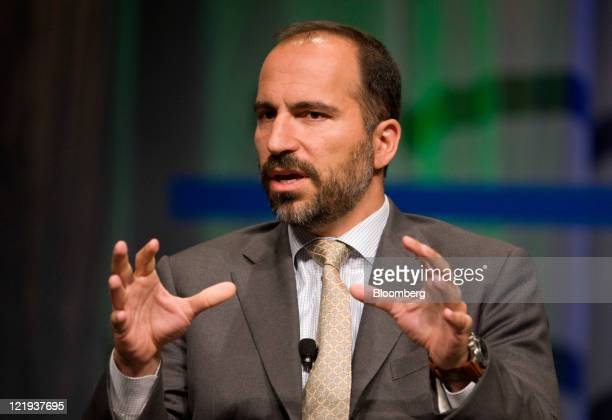 Dara Khosrowshahi president and chief executive officer of Expedia Inc speaks at the Global Business Travel Association convention in Denver Colorado...