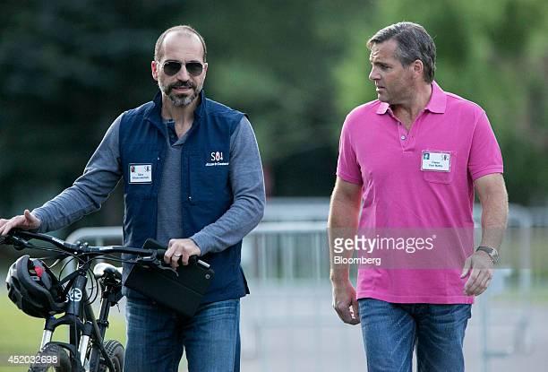 Dara Khosrowshahi president and chief executive officer of Expedia Inc left and Owen Van Natta chief executive officer of MySpace Inc arrives for a...