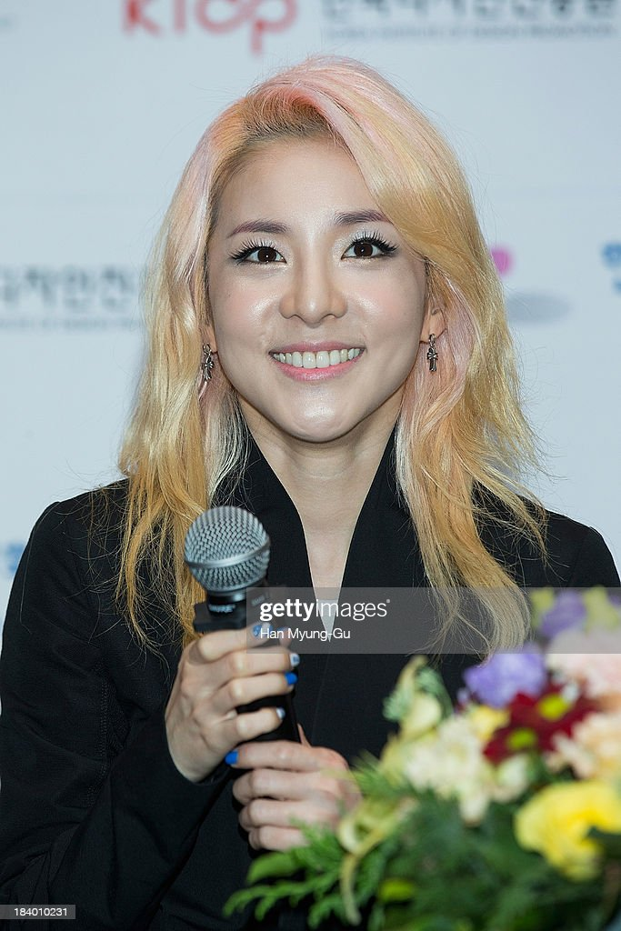 Dara of South Korean girl group 2NE1 attends the press conference to announce the 2NE1 being appointed as honorary ambassador for 2013 KBEE (Korea Brand and Entertainment Expo) in London at Kotra on October 10, 2013 in Seoul, South Korea.