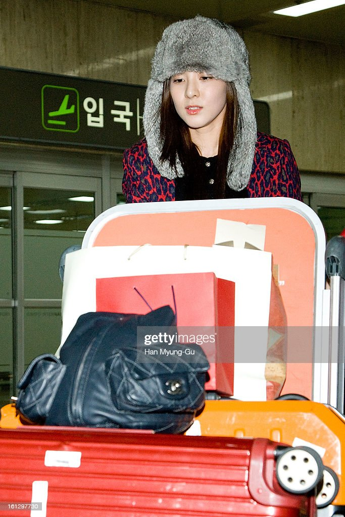 Dara of South Korean girl group 2NE1 is seen at Gimpo International Airport on February 9, 2013 in Seoul, South Korea.