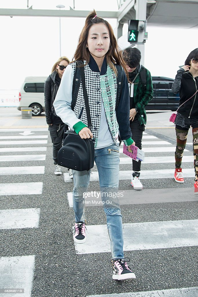 Dara of South Korean girl group 2NE1 is seen on departure at Incheon International Airport on April 10, 2014 in Incheon, South Korea.