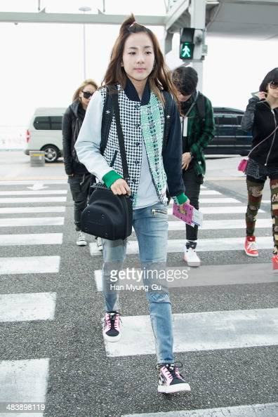 Dara of South Korean girl group 2NE1 is seen on departure at Incheon International Airport on April 10 2014 in Incheon South Korea