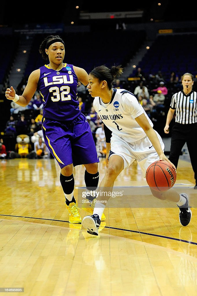 Dara Taylor #2 of the Penn State Lady Lions is guarded by Danielle Ballard #32 of the LSU Tigers during the second round of the NCAA Tournament at the Pete Maravich Assembly Center on March 26, 2013 in Baton Rouge, Louisiana. LSU won the game 71-66.