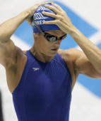 Dara Torres of the USA looks on before the women's 100m freestyle final during the FINA Swimming World Cup on November 18 2007 in Berlin Germany