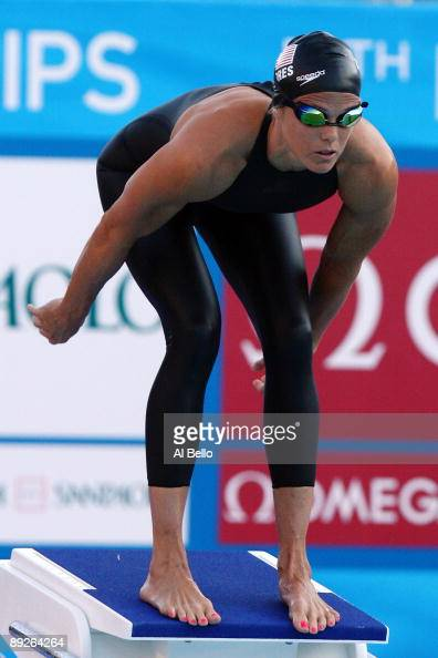 Dara Torres of United States competes in the Women's 4x 100m Freestyle Final during the 13th FINA World Championships at the Stadio del Nuoto on July...