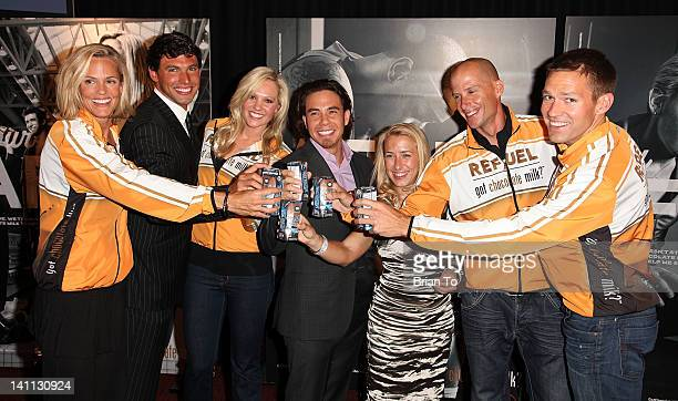 Dara Torres Ricky Berens Chloe Sutton Apolo Ohno Sarah Reinertsen Chris Lieto and Dr Andy Baldwin attend Olympic athletes 'Got Milk' announcement at...