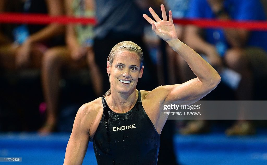 Dara Torres, 45, who finished fourth, waves following the women's 50M Freestyle final on the last day of the 2012 US Olympic Team Trials on July 2, 2012 in Omaha, Nebraska which was won by Jessica Hardy. AFP PHOTO/Frederic J. BROWN
